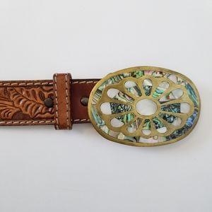 Vtg Western Mother of Pearl Brown Leather Belt